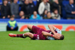 West Ham United's Tomas Soucek reacts on the floor during the Premier League match at Goodison Park.